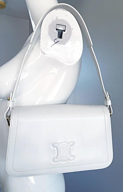 Women's Vintage Celine New White Leather Structured Shoulder Bag Convertible Clutch  For Sale