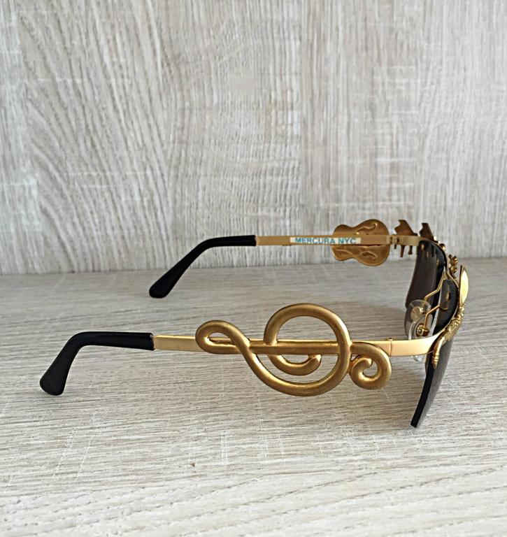 Black Rare Vintage Mercura Novelty ' Pianos + Horns + Music Notes ' Unisex Sunglasses For Sale