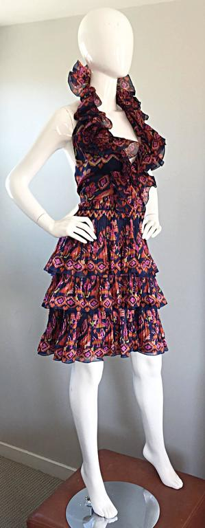 Women's Christian Dior by John Galliano Runway Spring 2009 Ruffle Size 10 Halter Dress For Sale
