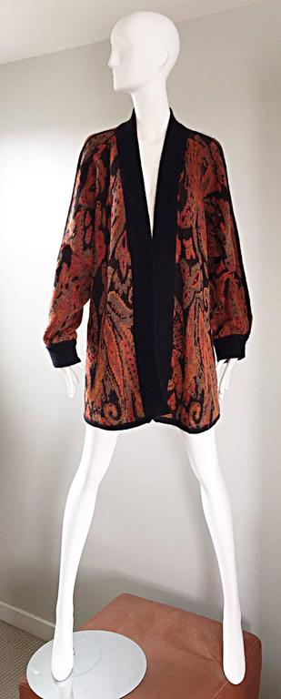 Vintage Escada by Margaretha Ley Autumnal Open Front Paisley Mohair Cardigan  2