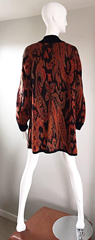 Vintage Escada by Margaretha Ley Autumnal Open Front Paisley Mohair Cardigan  In Excellent Condition For Sale In San Francisco, CA
