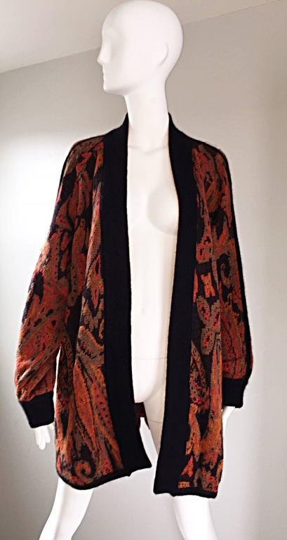 Vintage Escada by Margaretha Ley Autumnal Open Front Paisley Mohair Cardigan  For Sale 1