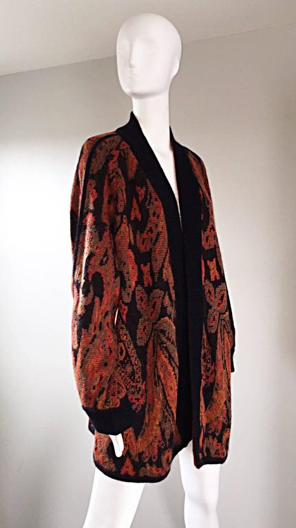 Vintage Escada by Margaretha Ley Autumnal Open Front Paisley Mohair Cardigan  For Sale 3