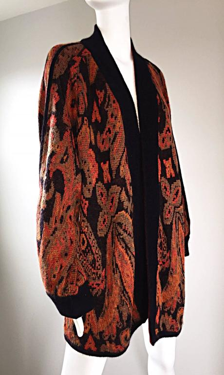 Women's Vintage Escada by Margaretha Ley Autumnal Open Front Paisley Mohair Cardigan  For Sale