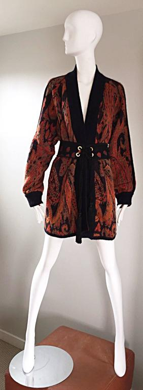 Vintage Escada by Margaretha Ley Autumnal Open Front Paisley Mohair Cardigan  For Sale 2