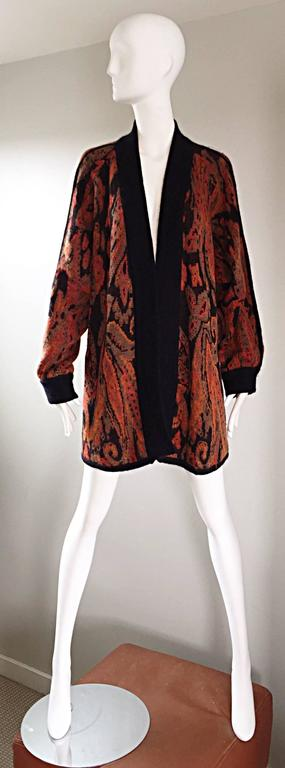 Vintage Escada by Margaretha Ley Autumnal Open Front Paisley Mohair Cardigan  For Sale 4