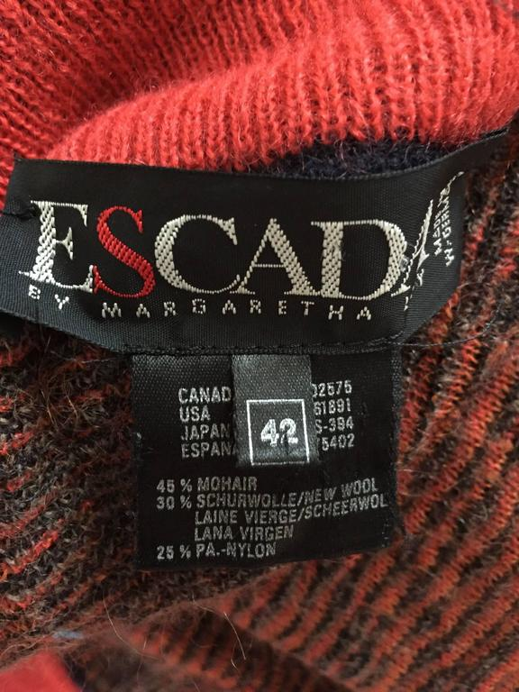 Vintage Escada by Margaretha Ley Autumnal Open Front Paisley Mohair Cardigan  10