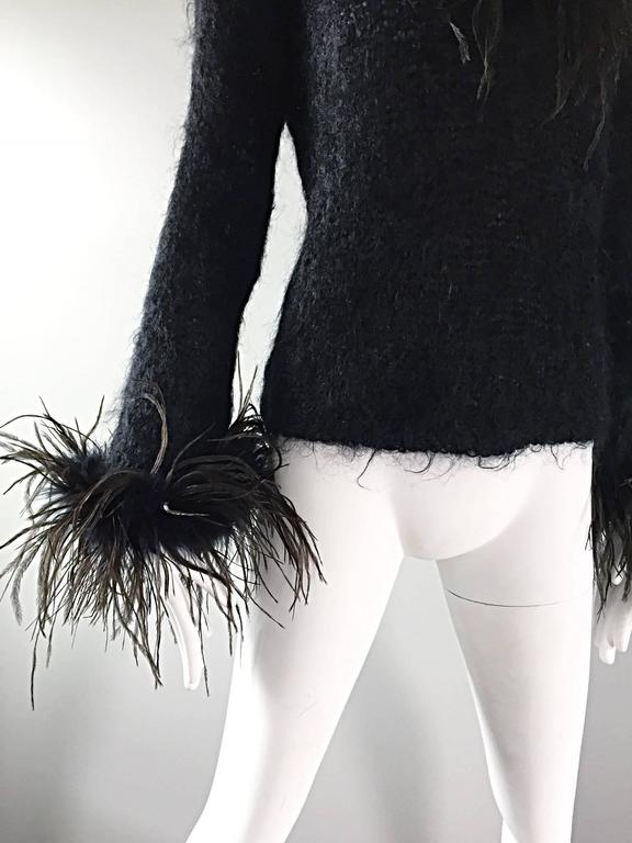 Amazing Vintage 1990s Italian Mohair Ostrich Feather Black