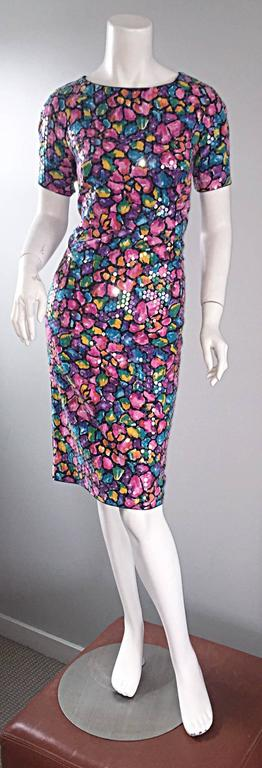 Beautiful vintage SAKS 5th Ave 1990s fully sequined dress! Features thousands of iridescent clear sequins throughout the entire dress. Colorful soft cotton, with a pretty flower print. Crisscross back, with snaps (easier to get on and off). Hidden