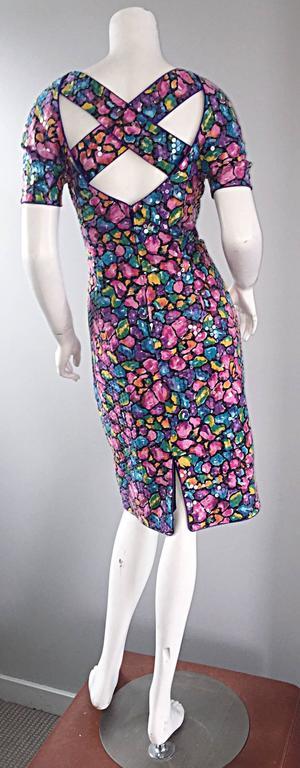 Black Vintage Saks Fifth Avenue Sz 8 Allover Sequined Iridescent 90s Crisscross Dress For Sale