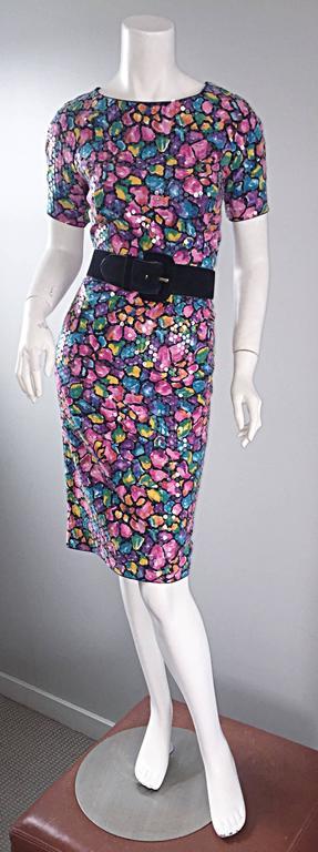 Women's Vintage Saks Fifth Avenue Sz 8 Allover Sequined Iridescent 90s Crisscross Dress For Sale