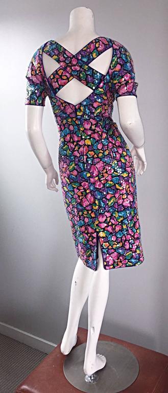 Vintage Saks Fifth Avenue Sz 8 Allover Sequined Iridescent 90s Crisscross Dress For Sale 2