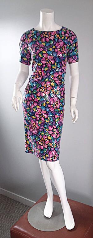 Vintage Saks Fifth Avenue Sz 8 Allover Sequined Iridescent 90s Crisscross Dress For Sale 4