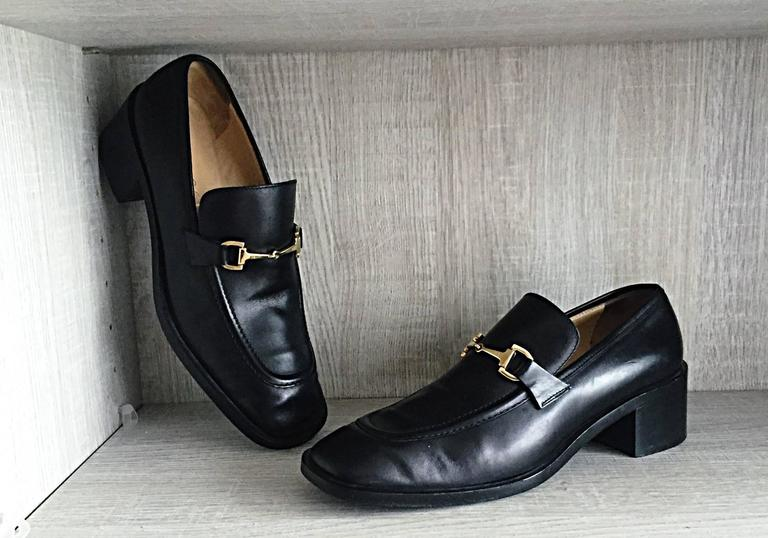 52910ff03a6 Rare TOM FORD For GUCCI black leather classic vintage Horsebit loafers