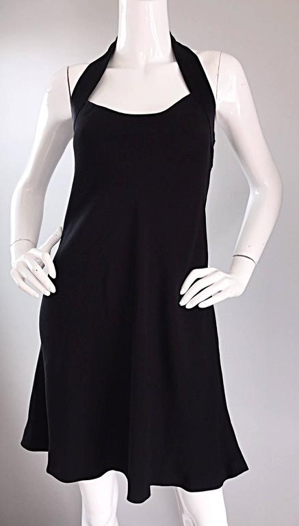 Women's Vintage Moschino Cheap & Cheap 90s Iconic Peace Sign Cut Out Flirty Black Dress For Sale