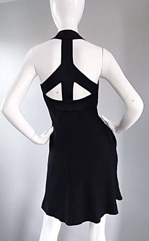 Vintage Moschino Cheap & Cheap 90s Iconic Peace Sign Cut Out Flirty Black Dress For Sale 5