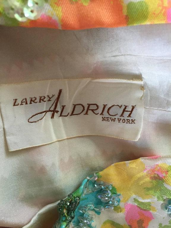 Beautiful Vintage Larry Aldrich 1950s Silk Sequined + Beaded 50s Flower Dress 10
