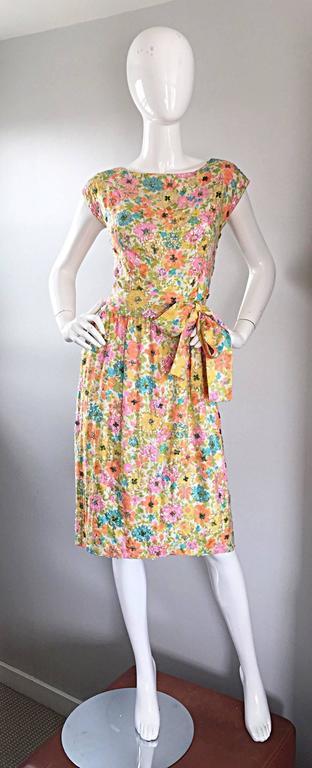Beautiful Vintage Larry Aldrich 1950s Silk Sequined + Beaded 50s Flower Dress 2