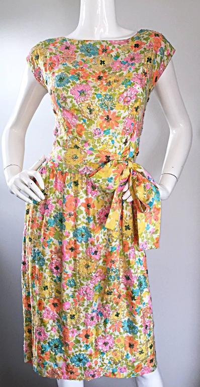 Beautiful Vintage Larry Aldrich 1950s Silk Sequined + Beaded 50s Flower Dress 4