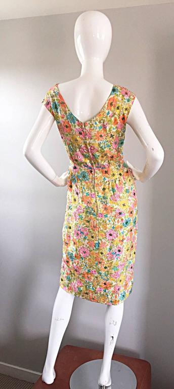 Beautiful Vintage Larry Aldrich 1950s Silk Sequined + Beaded 50s Flower Dress 5