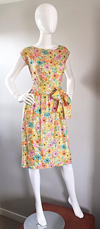 Beautiful Vintage Larry Aldrich 1950s Silk Sequined + Beaded 50s Flower Dress 6