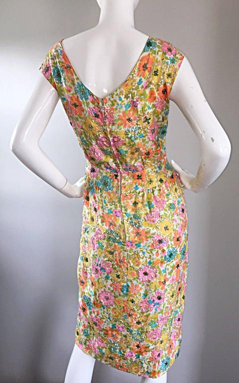 Beautiful Vintage Larry Aldrich 1950s Silk Sequined + Beaded 50s Flower Dress 7