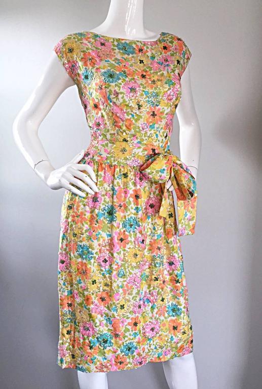 Beautiful Vintage Larry Aldrich 1950s Silk Sequined + Beaded 50s Flower Dress 8