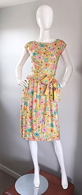 Beautiful Vintage Larry Aldrich 1950s Silk Sequined + Beaded 50s Flower Dress 9