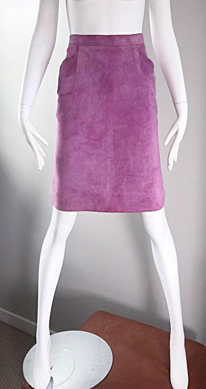 YSL Vintage Yves Saint Laurent Purple Lilac Lavender Leather Suede Pencil Skirt In Excellent Condition For Sale In San Francisco, CA