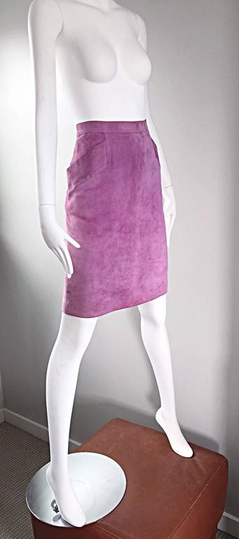 YSL Vintage Yves Saint Laurent Purple Lilac Lavender Leather Suede Pencil Skirt 4