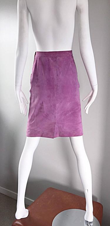 YSL Vintage Yves Saint Laurent Purple Lilac Lavender Leather Suede Pencil Skirt 5