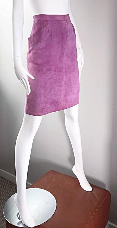 YSL Vintage Yves Saint Laurent Purple Lilac Lavender Leather Suede Pencil Skirt 6