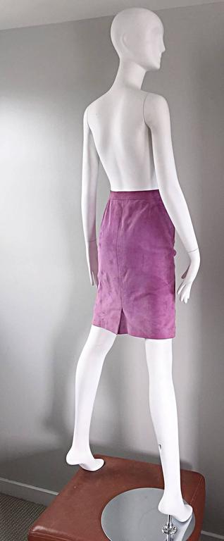 YSL Vintage Yves Saint Laurent Purple Lilac Lavender Leather Suede Pencil Skirt 7