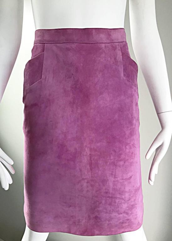 YSL Vintage Yves Saint Laurent Purple Lilac Lavender Leather Suede Pencil Skirt 8