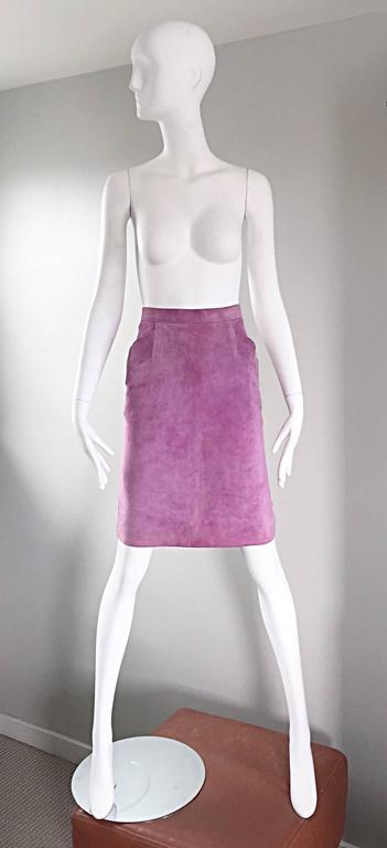 YSL Vintage Yves Saint Laurent Purple Lilac Lavender Leather Suede Pencil Skirt 9