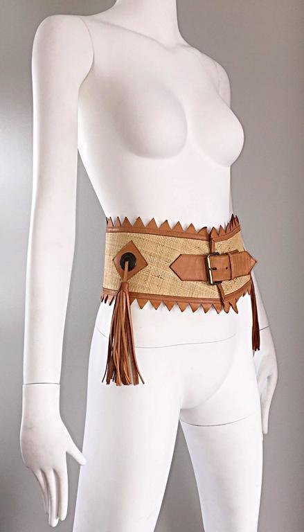 Chic 1970s Tan Saddle Leather and Straw 70s Boho Belt w/ Leather Fringe Tassels  3