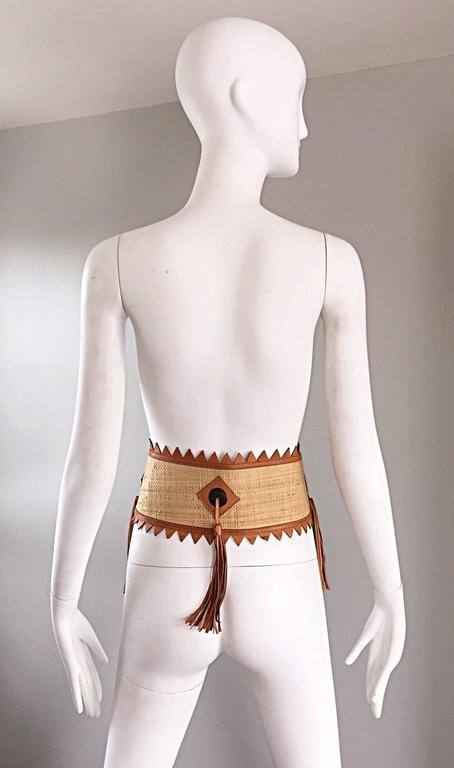 Chic 1970s Tan Saddle Leather and Straw 70s Boho Belt w/ Leather Fringe Tassels  4