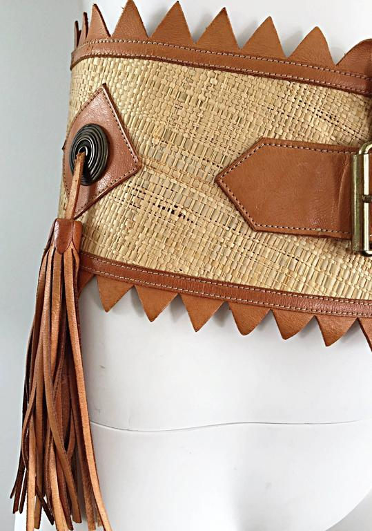 Chic 1970s Tan Saddle Leather and Straw 70s Boho Belt w/ Leather Fringe Tassels  5