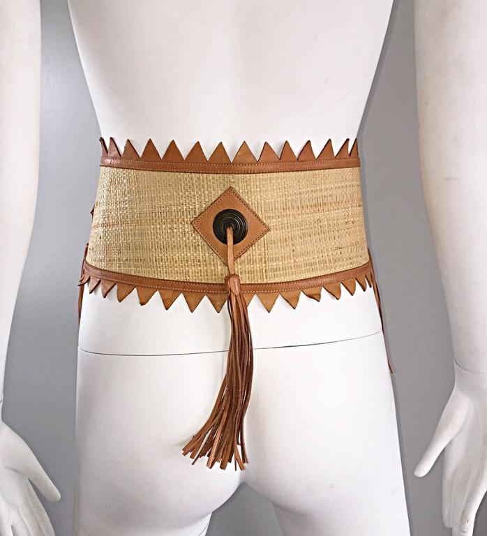 Chic 1970s Tan Saddle Leather and Straw 70s Boho Belt w/ Leather Fringe Tassels  6