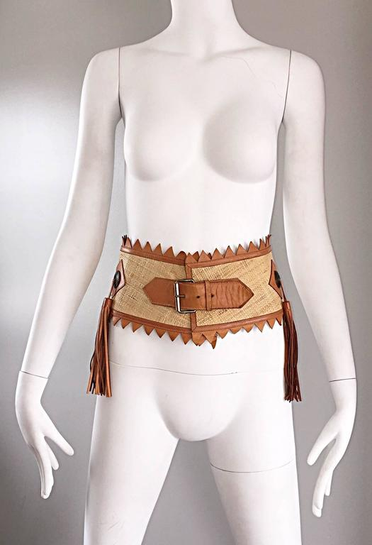 Chic 1970s Tan Saddle Leather and Straw 70s Boho Belt w/ Leather Fringe Tassels  9