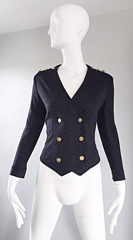Chic vintage NINA RICCI charcoal gray double breasted military styled cardigan sweater / jacket!! Super soft virgin wool. Incredible tailored fit, with six gold buttons up the bodice, and three gold buttons at each top shoulder. Very well made, with
