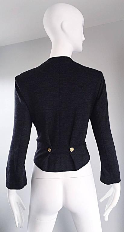 Black Vintage Nina Ricci Couture Charcoal Grey Double Breasted Wool Cardigan Jacket  For Sale