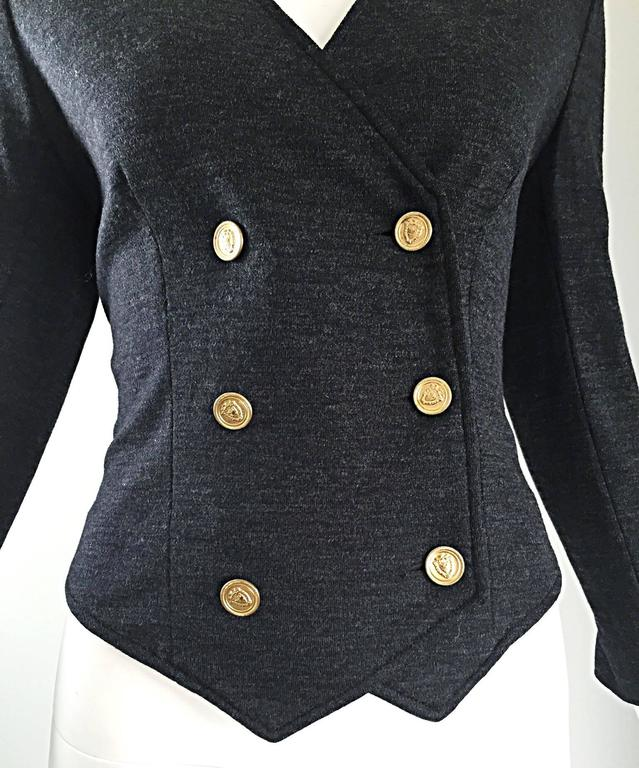 Vintage Nina Ricci Couture Charcoal Grey Double Breasted Wool Cardigan Jacket  In Excellent Condition For Sale In Chicago, IL
