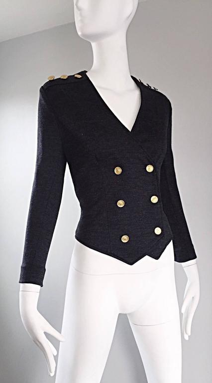 Women's Vintage Nina Ricci Couture Charcoal Grey Double Breasted Wool Cardigan Jacket  For Sale