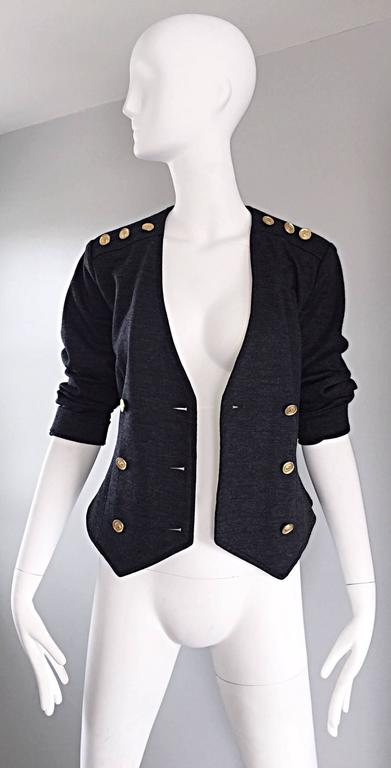 Vintage Nina Ricci Couture Charcoal Grey Double Breasted Wool Cardigan Jacket  For Sale 1