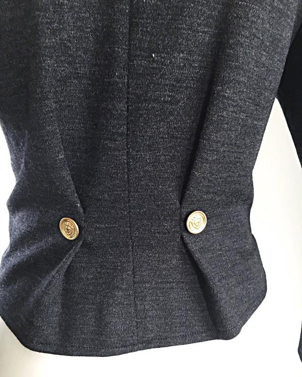 Vintage Nina Ricci Couture Charcoal Grey Double Breasted Wool Cardigan Jacket  For Sale 2