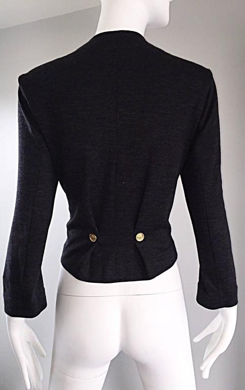 Vintage Nina Ricci Couture Charcoal Grey Double Breasted Wool Cardigan Jacket  For Sale 3