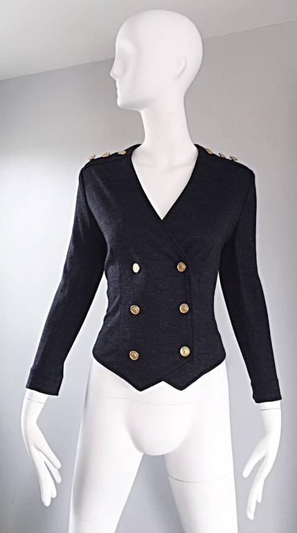 Vintage Nina Ricci Couture Charcoal Grey Double Breasted Wool Cardigan Jacket  For Sale 4