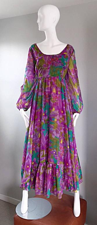 Plus Size Vintage Mr. Blackwell Gorgeous 1970s Size 22 Chiffon Maxi Dress Gown 2