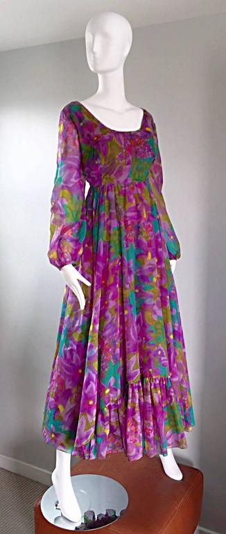 Plus Size Vintage Mr. Blackwell Gorgeous 1970s Size 22 Chiffon Maxi Dress Gown 4